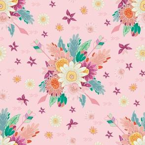 Aztec boho floral bouquet pink