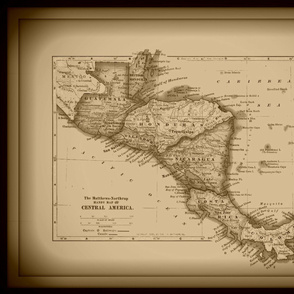 Central America vintage map - large, sepia