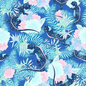 Tropical Iguana Cobalt blue