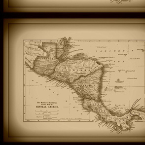 Central America vintage map - small, sepia