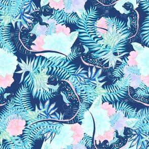 Tropical Iguana Dark Navy Blue