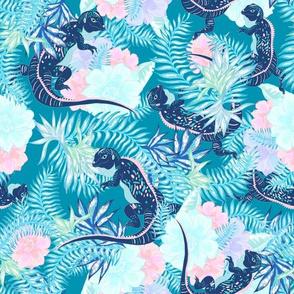 Tropical Iguana Teal Blue