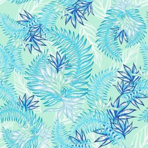 Tahitian Tropical palms mint green