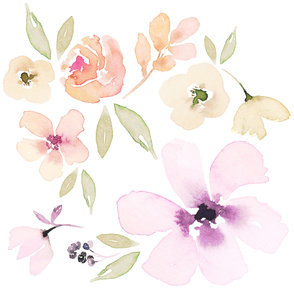 DECALS // jumbo watercolour floral decals muted pretty flower wallpaper floral