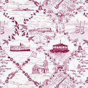 Star Island Toile (burgundy)
