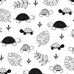 Pura Vida ocean and jungle animals little turtle tortoise baby black monochrome