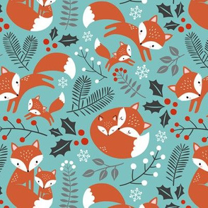 fox family - light teal