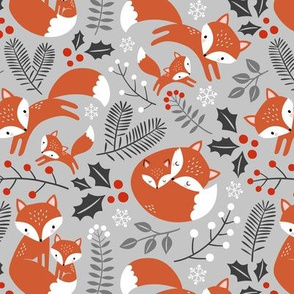 fox family - light grey