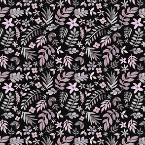 Soft Floral Black Ground (Smaller Scale)