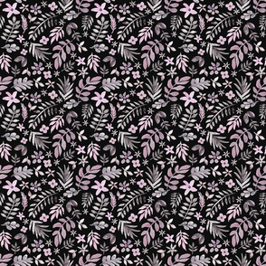 Soft Floral Black Ground (Tiny Scale)