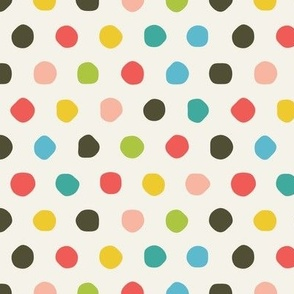 Multi Coloured Hand Drawn Polka Dots