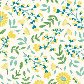 Pretty Ditsy Floral in Yellow, Teal and Green