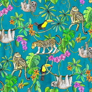 Rainforest Friends - watercolor animals on textured teal - medium