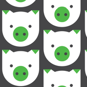 Pigs and Noses, Green and Black