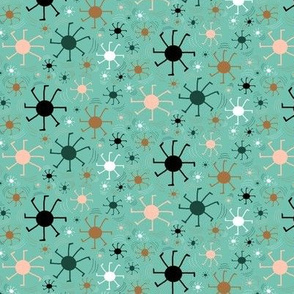 spider doing a handstand or cartwheel, small scale, non directional, green