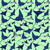 Spotted Rays-Spoonflower-on green