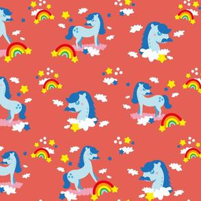 Mustache horses ♥️ rainbows - orange background