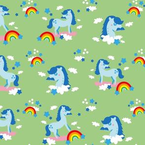 Mustache horses ♥️ rainbows - green background