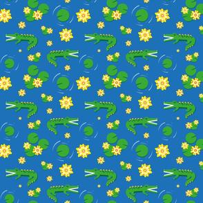 Aligator pond - blue background