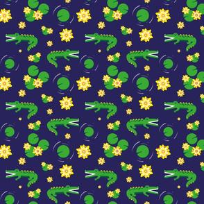 Aligator pond - dark blue background