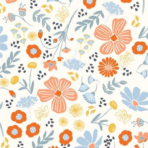 Cottage Garden Large Floral in Peach, Orange, Blue