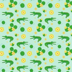 Aligator pond - light green background