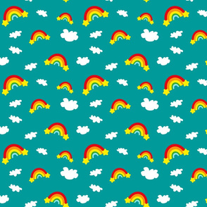 Rainbows and Clouds - green/blue