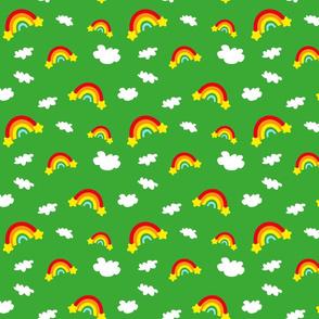 Rainbows and Clouds - medium green