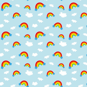 Rainbows and Clouds - light blue