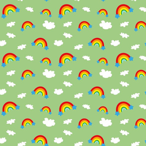 Rainbows and Clouds - light green
