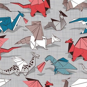 Origami dragon friends // small scale // linen texture background blue red grey and taupe fantastic creatures