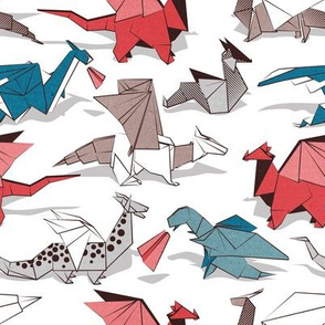Origami dragon friends // small scale // white background blue red grey and taupe fantastic creatures