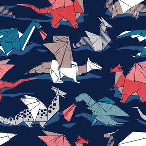 Origami dragon friends // small scale // oxford navy blue background blue red grey and taupe fantastic creatures