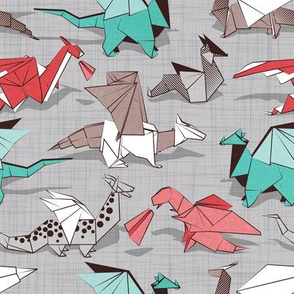Origami dragon friends // small scale // grey linen texture background aqua red grey and taupe fantastic creatures