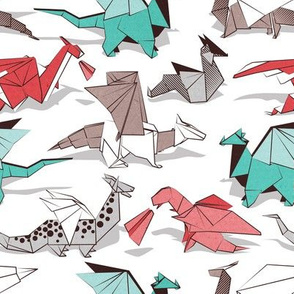 Origami dragon friends // small scale // white background aqua red grey and taupe fantastic creatures
