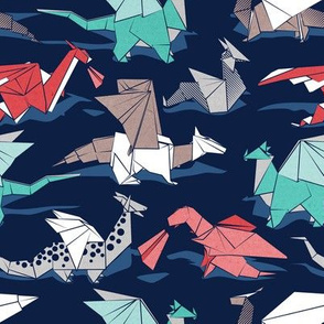 Origami dragon friends // small scale // oxford navy blue background aqua red grey and taupe fantastic creatures