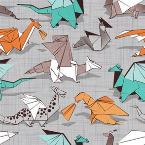 Origami dragon friends // small scale // grey linen texture background aqua orange grey and taupe fantastic creatures