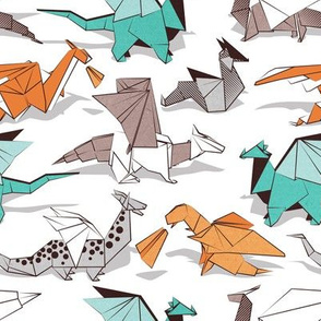Origami dragon friends // small scale // white background aqua orange grey and taupe fantastic creatures