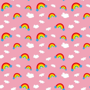 Rainbows and Clouds - pink