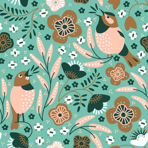 Birds singing from the heart - in limited color palette.