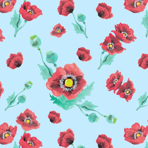 Red Poppies in Powdered Blue
