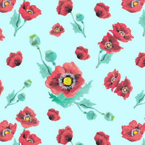 Red Poppies in Mint