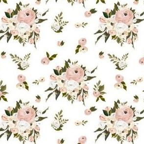 """4"""" Cream and White Florals Garden White"""