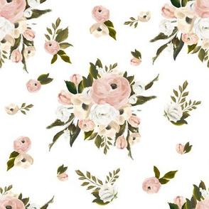 """8"""" Cream and White Florals Garden White"""