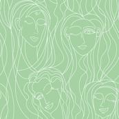 Winking Ladies (Seafoam Green)