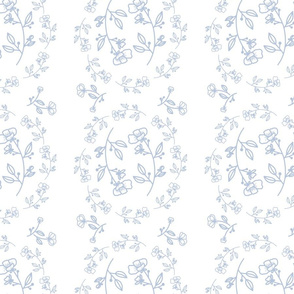 Floral Line Drawing - Powder Blue on White