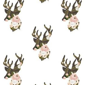 "4"" Floral Deer Silhouette White"