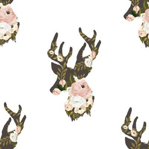 "8"" Floral Deer Silhouette White"