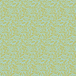 Cheerful Doodle Leaves - yellow on robins egg blue background