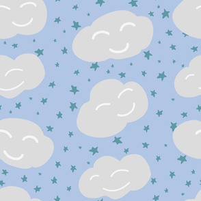 Vector Happy Clouds and Stars